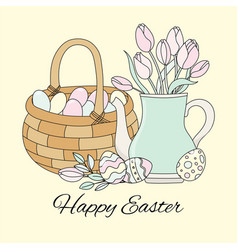 easter tulips spring bouquet holiday set vector image