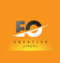 eo e o letter modern logo design with yellow vector image