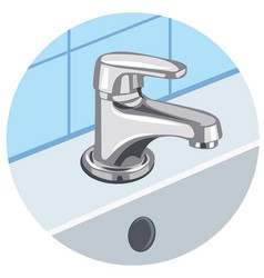 faucet and sink vector image