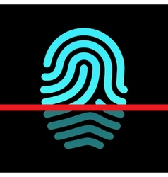 Fingerprint identification system - loop type icon vector image