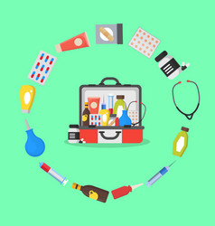 first aid kit box or suitcase and element concept vector image