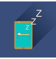 Flat icon with long shadow mobile phone sleeps vector