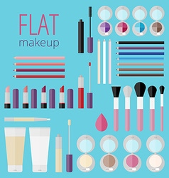 Flat mega set of makeup products vector image