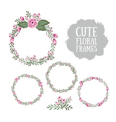 floral frame collection set cute retro flowers vector image