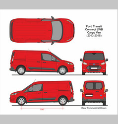 Ford transit connect lwb van 6 doors 2013-2018 vector