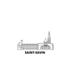France saint savin line travel skyline set vector