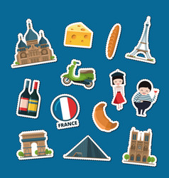 France sights stickers vector
