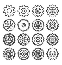 Gear outline icon set vector