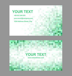 Green mosaic business card template design vector