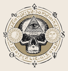 Hand-drawn banner with third eye on a human skull vector