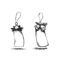 hand sketch of Christmas tags vector image