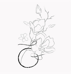 Handwritten line drawing floral logo monogram vector