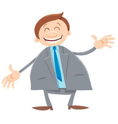 happy businessman cartoon comic character vector image