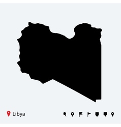 High detailed map of Libya with navigation pins vector