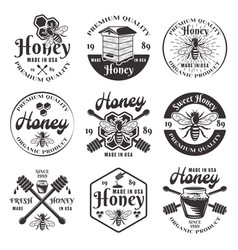 honey and beekeeping set black emblems vector image