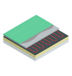 isometric layers of floor heating system partly vector image