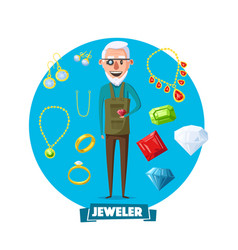 jeweler man profession and jewelry items vector image