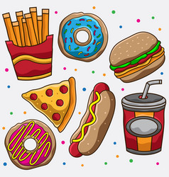 junk food icons vector image