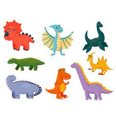 kawaii funny dinosaur cartoon character icon set vector image