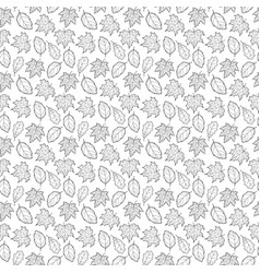 leaves seamless black and white big vector image