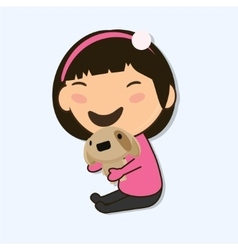 little Asian girl vector image