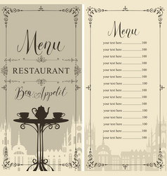 Menu for cafe or restaurant with price list vector