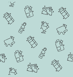 milk production icons pattern vector image