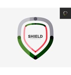 Minimal line design logo shield icon vector image