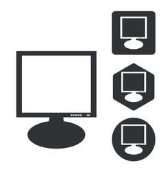 Monitor icon set monochrome vector