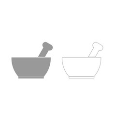 Mortar and pestle the grey set icon vector
