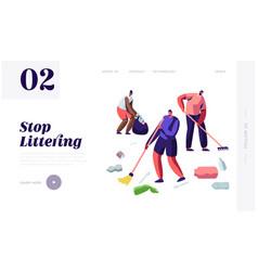 multiracial people raking and sweeping trash vector image