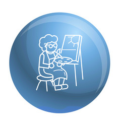 old person painting concept background outline vector image