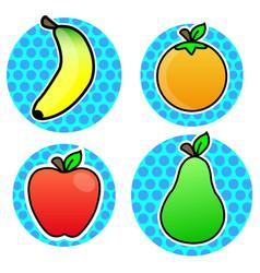 Orange banana apple pear fruit cartoon color vector