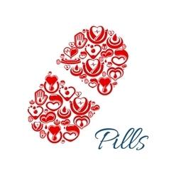 Pill icon of heart health care symbols vector