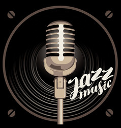 Poster for jazz music with speaker and microphone vector