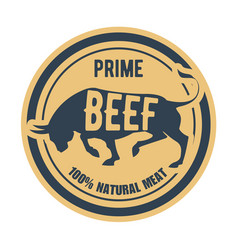prime beef stamp - label with bull natural meat vector image