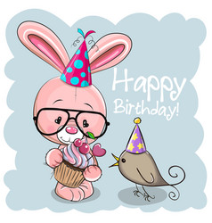 Rabbit with cake and a bird on a beige background vector