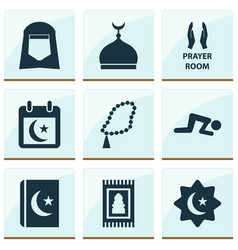 ramadan icons set with room minaret rosary and vector image