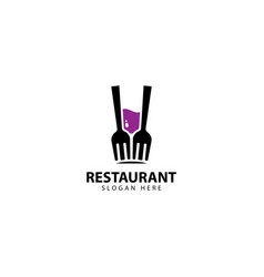 Restaurant logo design with forks and glass vector