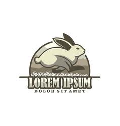 running rabbit logo template with modern emblem vector image
