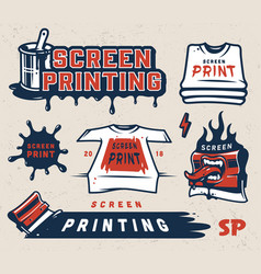 Screen printing colorful concept vector