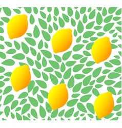 seamless leaves pattern with fresh lemon vector image