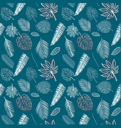 seamless white line various tropical leaves vector image