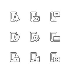 set line icons mobile phone functions vector image