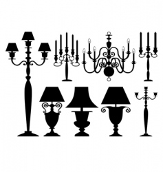 Set of antique lighting vector