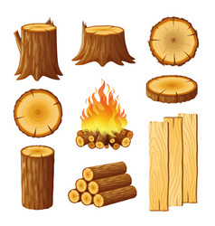 Set of logging stumps and boards woodpile and vector