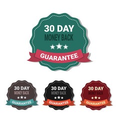 set of medals money back in 30 days guarantee vector image