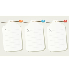Set of three numbered pinned blank sheets of paper vector
