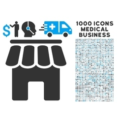 Shop building icon with 1000 medical business vector