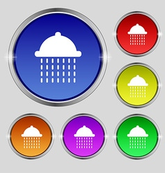 Shower icon sign round symbol on bright colourful vector